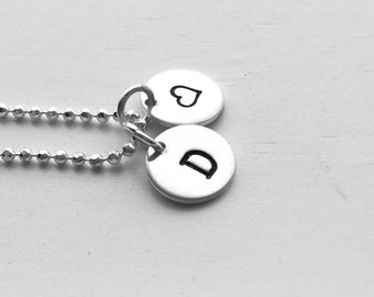 Initial Necklace with Heart Charm, Sterling Silver, All Letters Available, Hand Stamped Jewelry, Letter D Necklace, Heart Necklace