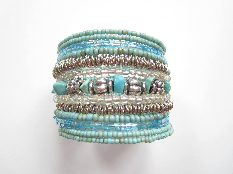 Wired Glass Seed Beads Bracelet-Open Bracelet-Bohemian