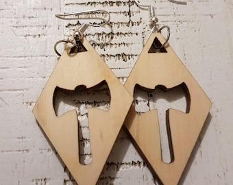Wooden Diamond Battleaxe earrings