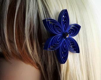 Royal Blue Hair Accessory, Blue Hair Clip, Blue Hair Flower, Blue Flower Hair Clip