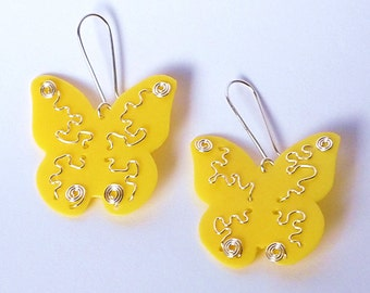 Recycled plastic bottles earrings Butterfly ecofriendly upcycled handmade jewelery by RecuperArte