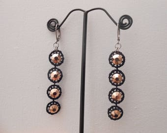 Lace and crystal earrings