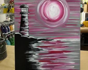 Lighthouse Painting, Lighthouse Art, 16x20 Inch Painting, Ocean Painting, Lighthouse and Ocean Art, Pink Skies Art, Original Lighthouse Art