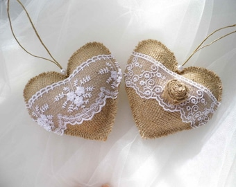 Fabric Hearts, Burlap Decoration, Rustic Wedding Decor, Burlap And Lace, Barn Wedding Decor, Burlap Wedding,  Wedding Favors, Sweet Home