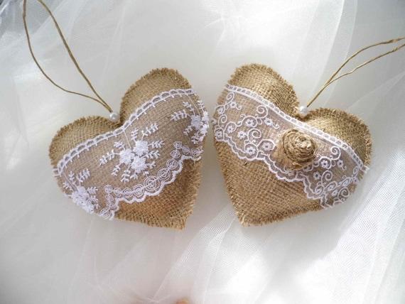 Corazones de tela arpillera decoraci n decoraci n de la boda for Decoracion del hogar con crochet