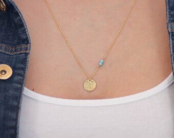 Disc Necklace, Gold Disc Necklace, Circle Necklace, Full Moon Necklace, Tiny Disc Necklace, Dainty Disc Necklace, Gold Disc Pendant, SN0093