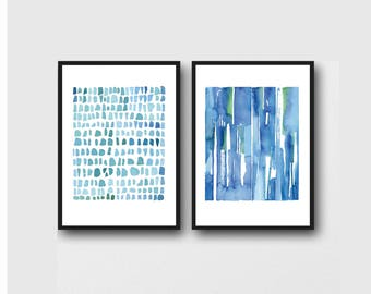 Wall art, set of 2 prints, modern art, minimal art, set of 2 Watercolor paintings, abstract paintings, watercolor prints