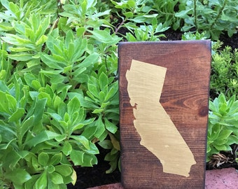 State Silhouette/Outline// California State// CA// Painted// Wooden Sign