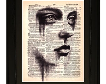 "Reflections"".Dictionary Art Print. Vintage Upcycled Antique Book Page. Fits 8""x10"" frame"