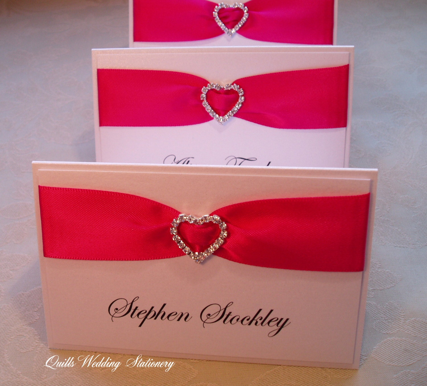 Wedding Place Name Card. Seating Card. Diamante Heart Place