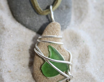 Beach Stone and Sea Glass Necklace