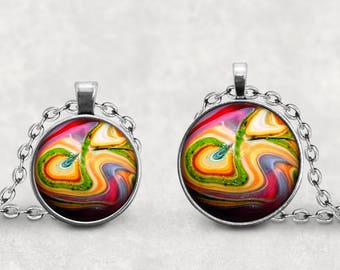 Psychedelic Necklace, Agate Marble Pendant, Gift For Her, Retro, Whimsical, Photo Jewelry, Cabochon Lucas