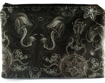 Jellyfish Pouch Cosmetics/Makeup/Artist Bag - Black & White - Curiosity Collection - Mermaid