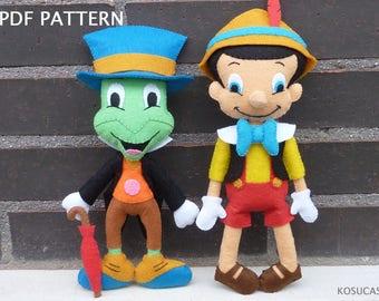 PDF tutorial to make a felt Jiminy Cricket and Pinocchio.