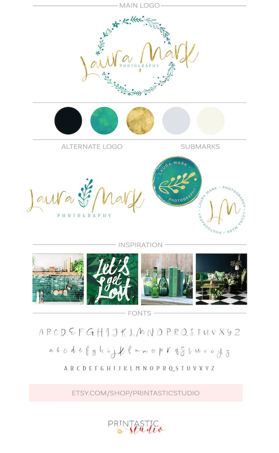 Premade branding package leaf logo watercolor logo design like this item reheart Image collections