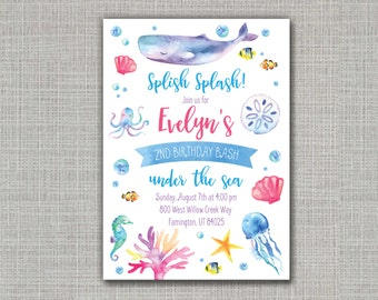 Under the Sea Invitation / Ocean Party / Under the Sea Party / Under the Sea Birthday