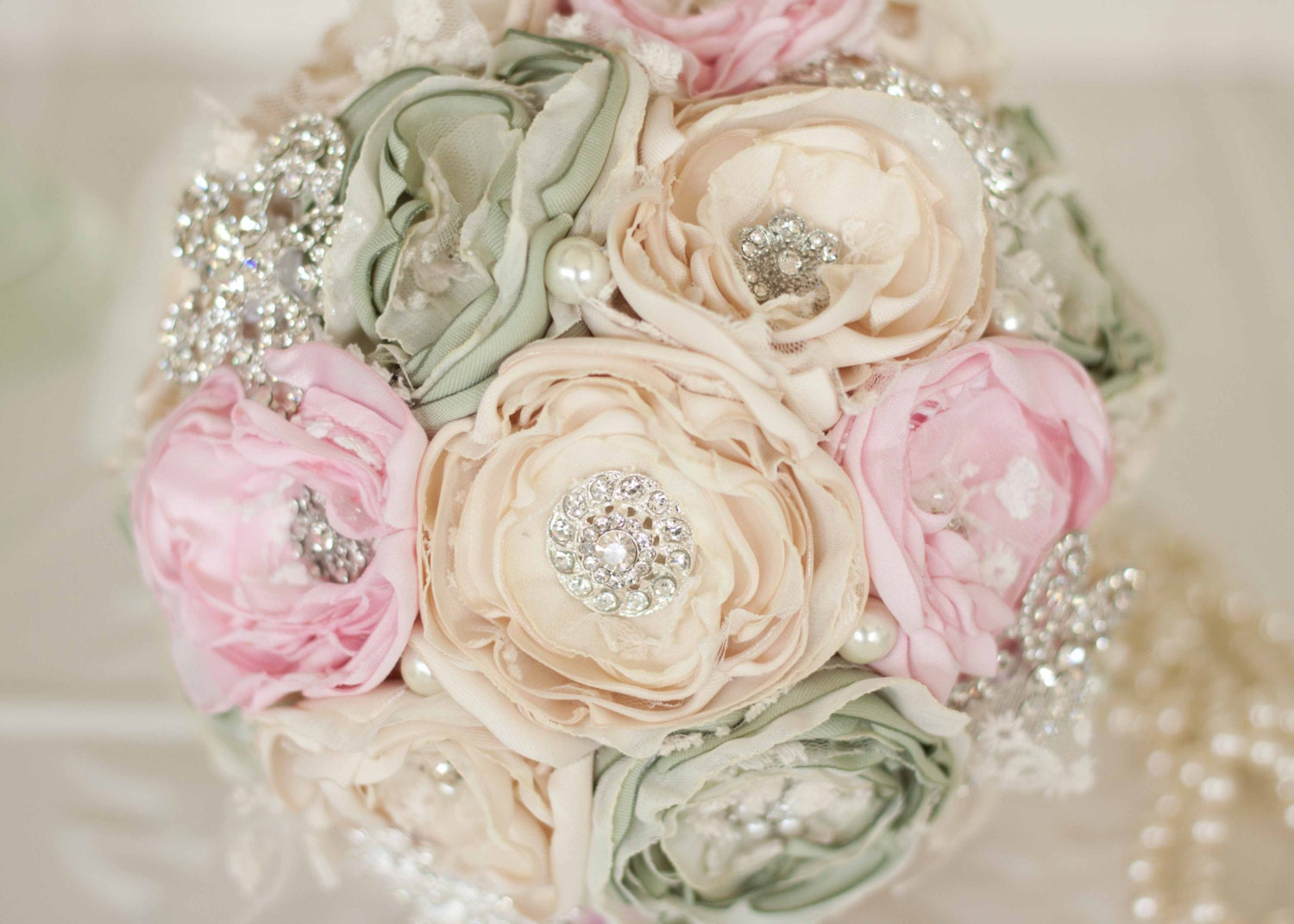 Fabric Flower Bouquet Cream Pale Pink And Green Satin And