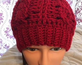 Crochet Cable Messy Bun Hat