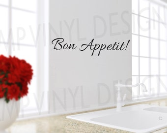 Bon Appetit Decal, Bon Appetit, Kitchen Decor, Kitchen Decal, Wall Decor, Kitchen Vinyl Decal, Dining Room Decal, Kitchen Wall Decal
