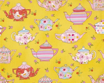 Teapot Fabric by the Yard, Floral, Quilting, Cotton, Novelty, Yellow, Pink, Kitchen, Rose, Tea, Party, Play, Large Print, Girly, Bird, Decor