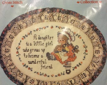 Vintage A Daughter Is A Friend Counted Cross Stitch Kit!!