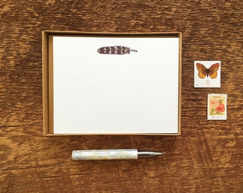Feather Motif, Boxed Set of 8 Letterpress Flat Notes, Boxed Stationery