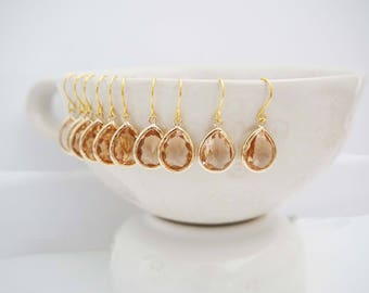 Light Peach Champagne Teardrop Gem Earrings | Bridesmaid Earrings | Wedding Jewelry