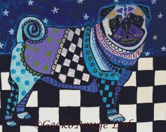 Modern Cross Stitch Kit, Heather Galler 'Pug in Blue', Pug Cross Stitch, Dog Art