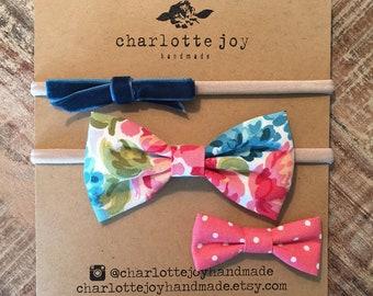 Gift Set - Baby Headband - Nylon Headband - Toddler Hair Clip - Fabric Bow
