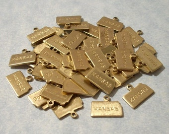 6 Tiny Brass Kansas Charms 11mm Brass State Charms Engraved Kansas Charms
