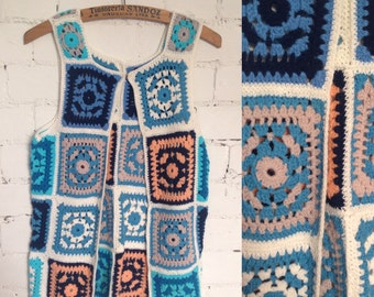 Vintage crochet patchwork knitted waistcoat hippy boho