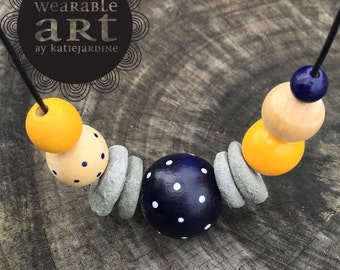 It mustard been love - Hand painted beaded necklace - navy white spots - cement beads - mustard