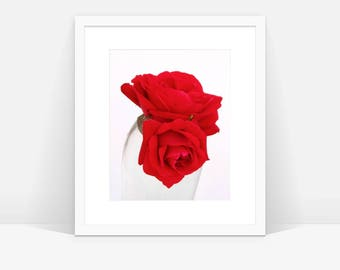 Red Rose Photograph, Two Roses Photo, Digital Download, Rose Printable, Large Wall Art, Red Rose Photo, Red Rose, Red Wall Decor