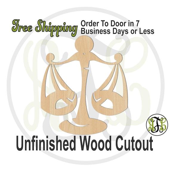 Libra - 430009- Zodiac Cutout, unfinished, wood cutout, wood craft, laser cut shape, wood cut out, Horoscope, wooden, Sep 23 - Oct 22