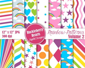Rainbow Patterns Digital Scrapbook Paper Volume 2, Rainbow Paper, Bright, Colorful, Backgrounds