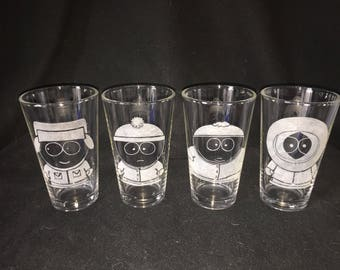 South Park Character Hand Etched Pint Glasses!