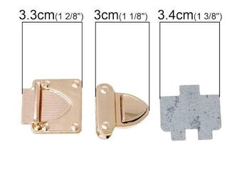 Closing portfolio with push in 3 parts 3cm gold tone heart shape