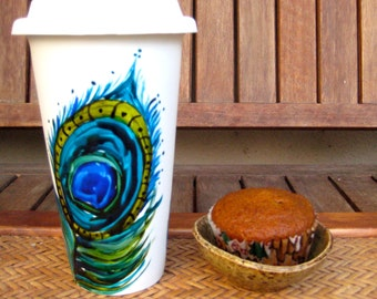 CERAMIC travel cup, ECO-FRIENDLY, hand painted-double walled, porcelain with silicone lid