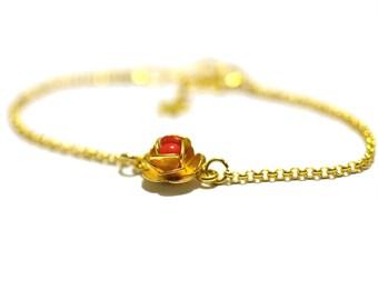 Small bright red Rose flower bracelet gold filled