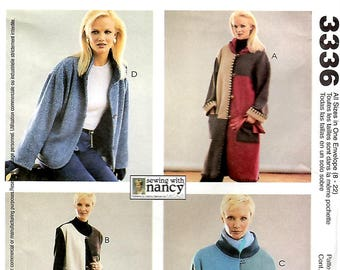 Misses/Miss Petite Unlined Coat, Jackets and Vest, Sizes 8 - 22, S-M-L-XL, McCall's 3336, Sewing with Nancy Zieman