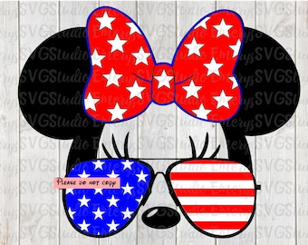 SVG DXF File for Minnie with american Flag Sunglasses Star Bow