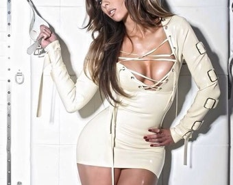 White latex straight jacket dress
