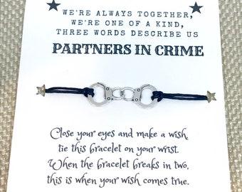 Partners in Crime handcuff charm wish bracelet / waxed cord bracelet / best friends