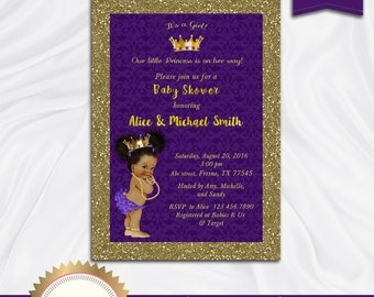 Princess Baby Shower Invitation, Little Princess Baby Shower Invite, Royal Baby Shower Invitation, Purple, Gold - Printable, Digital file