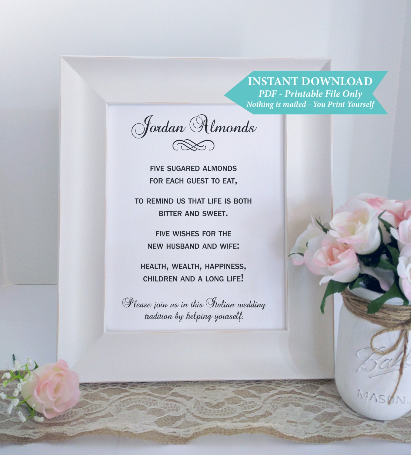 Jordan Almonds Italian Digital Reception Wedding Sign 5x7