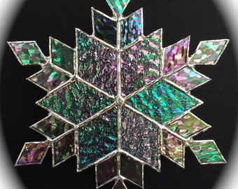 stained glass snowflake suncatcher  (design 12B)