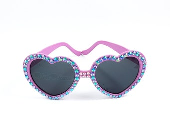 UNICORN Heart Sunglasses, Pastel Pink, Lilac & Turquoise Sunglasses, Heart Shaped Sunglasses, Kawaii Sunglasses, Sparkly Bling Sunglasses