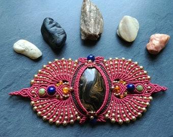 Gemstones and macrame Cuff Bracelet