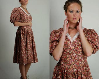 Prairie Dress / Vintage Dress / Vintage 70s / Cotton Dress / Day Dress / Floral Dress / Boho Dress / House Dress / 70s Dress / Small Medium