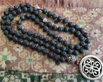 Black lava rock hand knotted necklace/Boho jewelry/ boho necklace/long necklace/lava rocks/silver Thai beads/hand knotted boho necklace